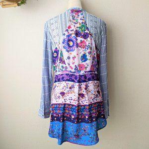 Aratta  Contrast Shirt Plaid Floral Tunic Top